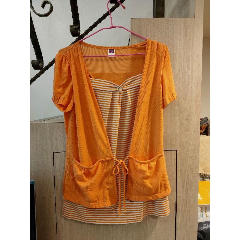 【伊蕾服飾】名店 夏季亮眼橘色 假兩件式穿著 俏麗出色