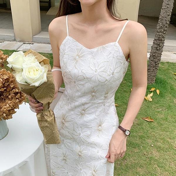 島歌夫人超仙女白色吊帶長裙長款初戀甜美洋裝設計感小眾外穿夏【快速出貨】
