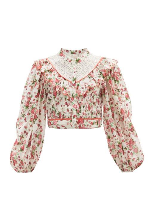 Loveshackfancy - Egan Balloon-sleeve Floral-print Cotton Top - Womens - White Print