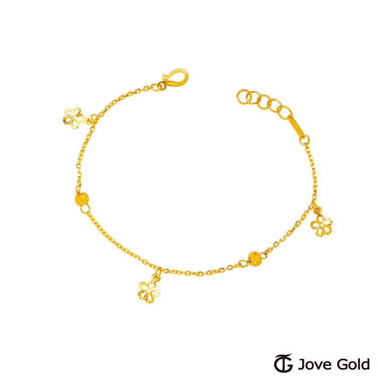 jovegold漾金飾花都開了黃金手鍊