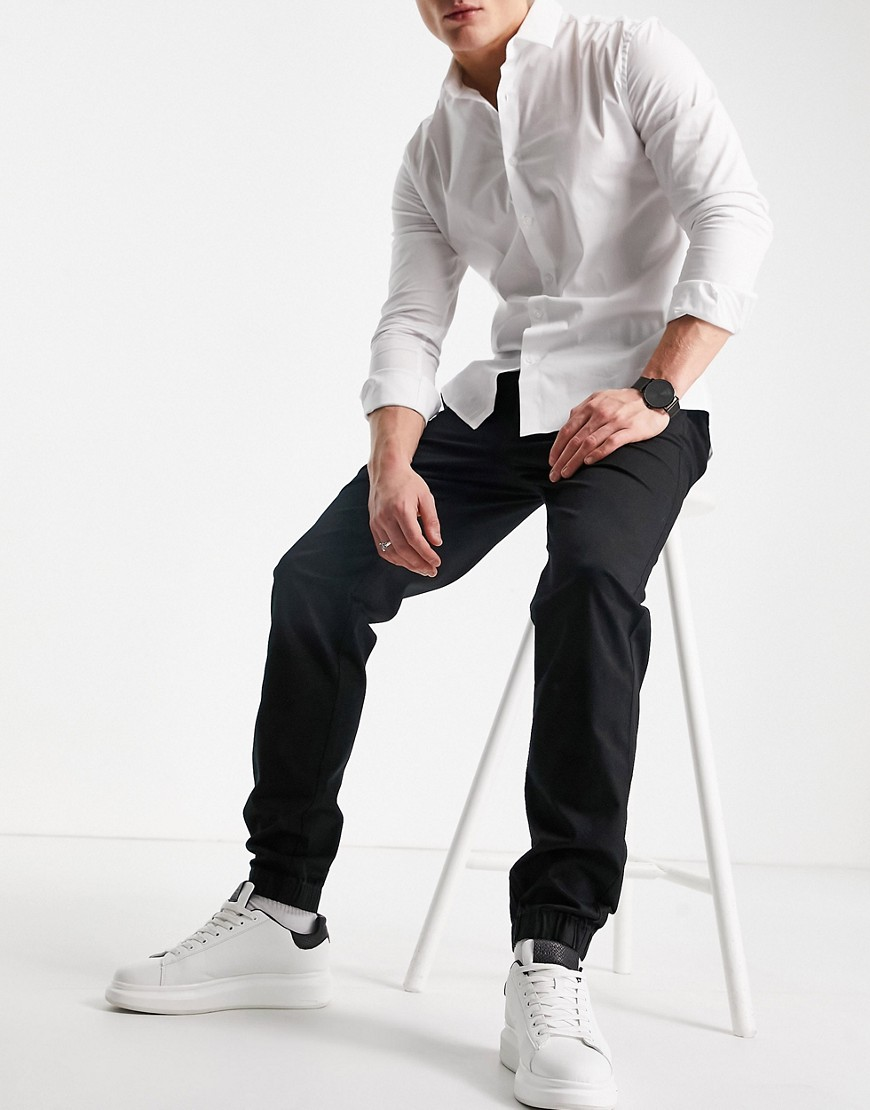 River Island pull on cuffed chinos in black