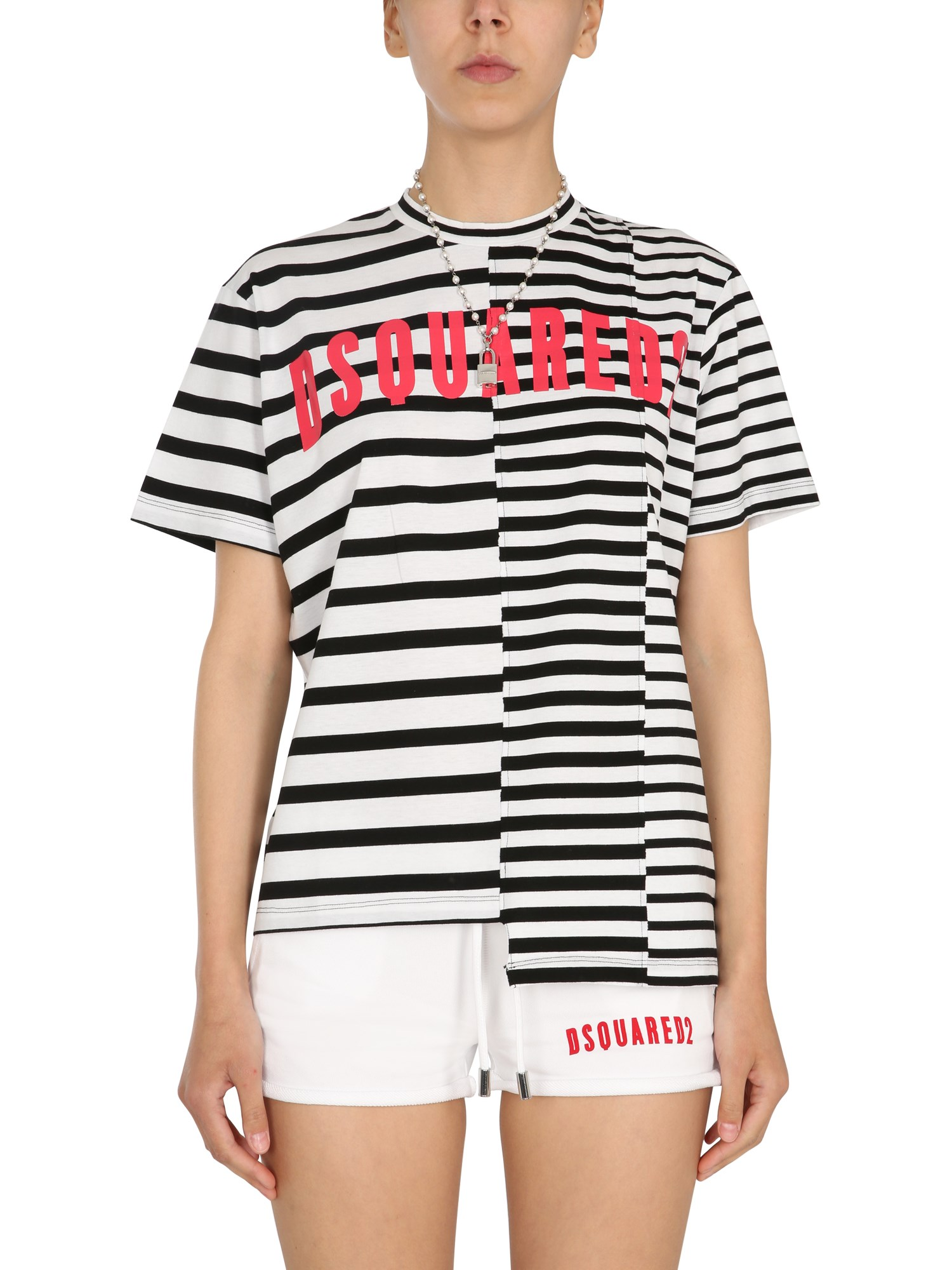 dsquared asymmetric t-shirt with stripe pattern