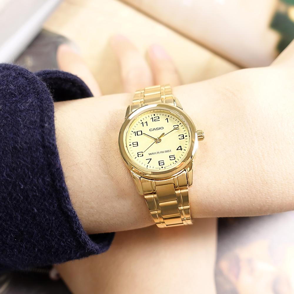 CASIO / LTP-V001G-9B / 門市販售中 訂購詳情歡迎私訊LINE / 卡西歐 簡約優雅 復古時尚 數字刻度 不鏽鋼手錶 金色 25mm