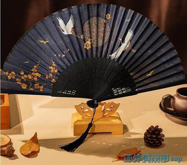 折扇 扇子折扇中國風古風女日式小復古折疊古典古裝流蘇布夏季跳舞舞蹈 快速出貨
