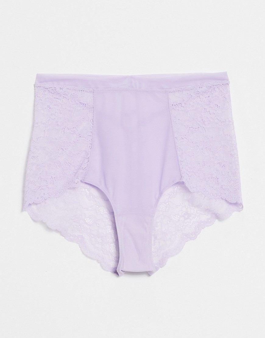 Monki Oma recycled high waist brief in lilac-Purple