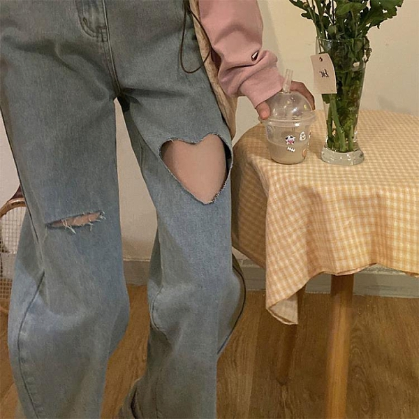 梨形身材褲子高腰顯瘦胖mm闊腿褲辣妹大碼愛心破洞牛仔褲女ins潮 pinkq時尚女裝