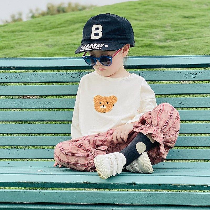 小熊米白色T恤 / 粉色格紋束口褲 童裝 - imakokoni kids
