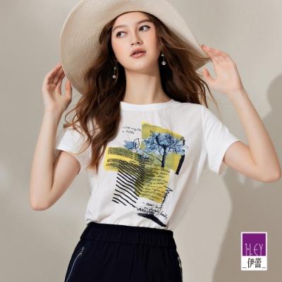 ILEY伊蕾 抽象感膠印縲縈混紡彈性上衣(白)1212011251