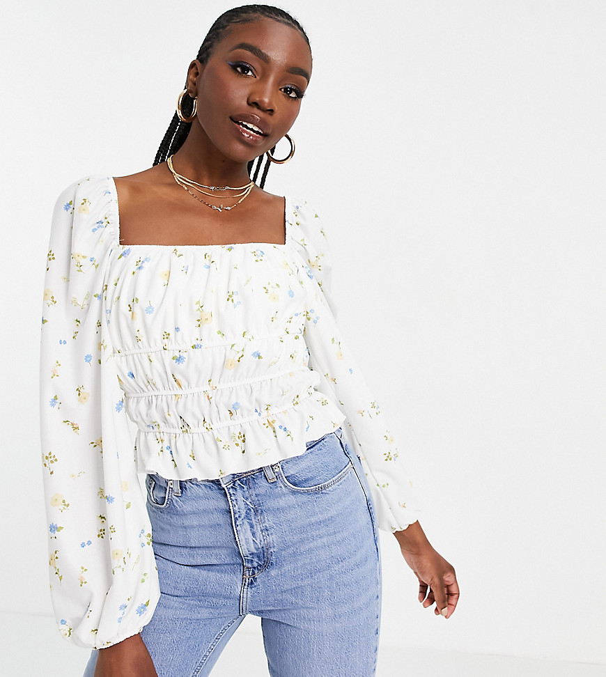 ASOS DESIGN Tall square neck shirred waist long sleeve top in floral-Multi