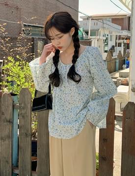 韓國空運 - Floral round blouse 襯衫