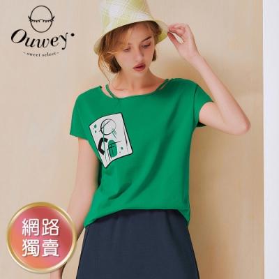 OUWEY歐薇 領口挖洞燙銀口袋印花連袖純棉上衣(綠/深藍)3212061211
