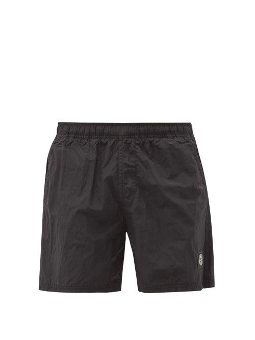 Stone Island - Garment-dyed Shell Swim Shorts - Mens - Black