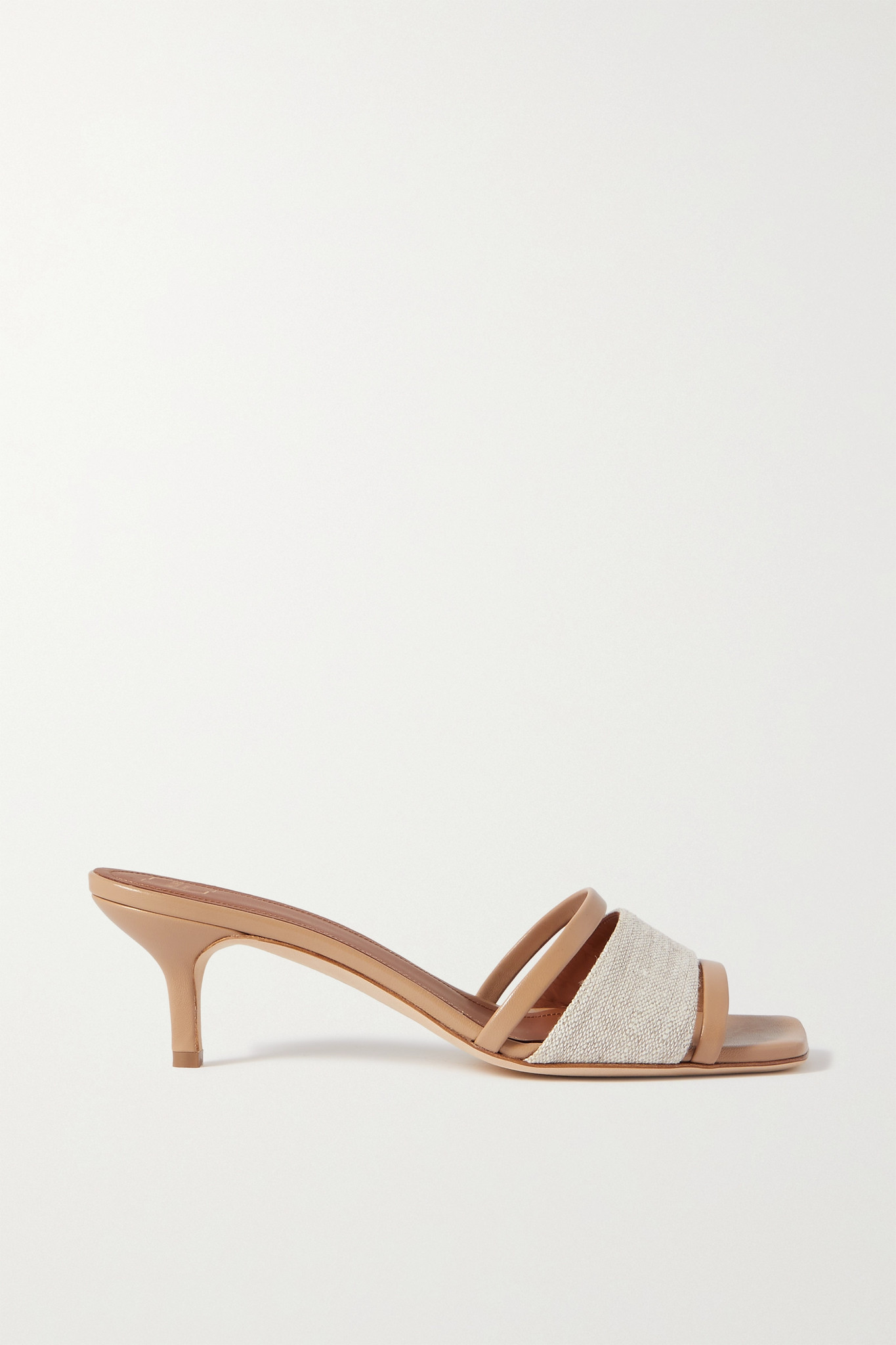 MALONE SOULIERS - Laney 45 Linen And Leather Mules - Neutrals - IT35