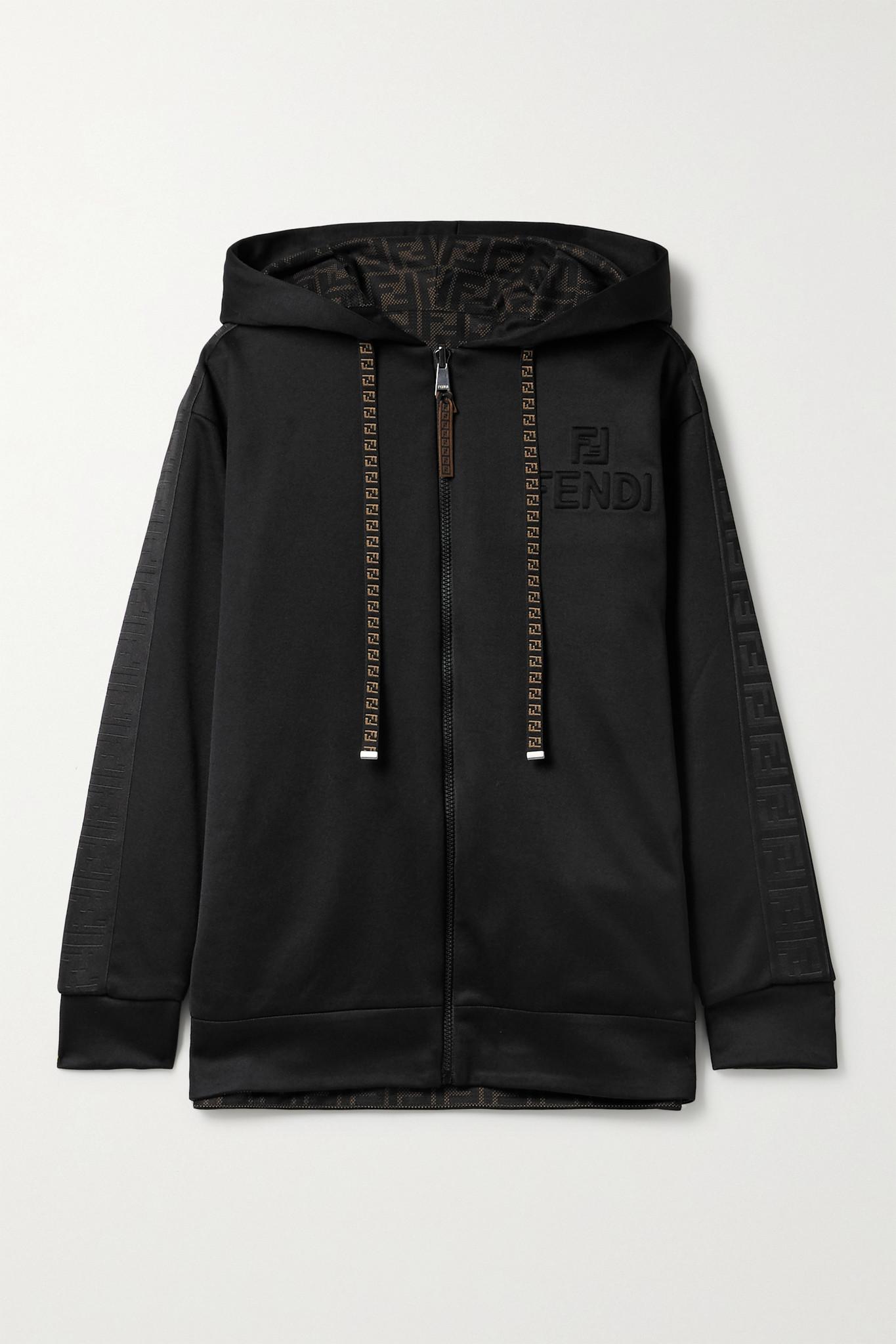 FENDI - 正反两穿科技平纹布印花网布帽衫 - 黑色 - x large