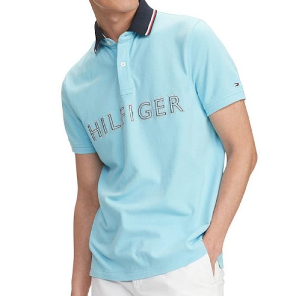 Tommy Hilfiger 男修身版對比色衣領Polo衫(冷藍色)