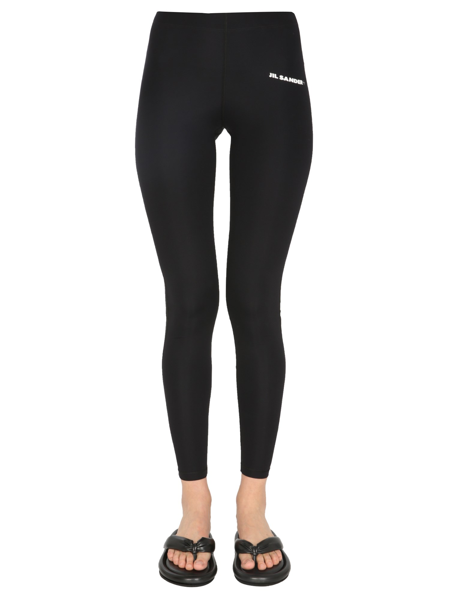 jil sander leggings with logo print
