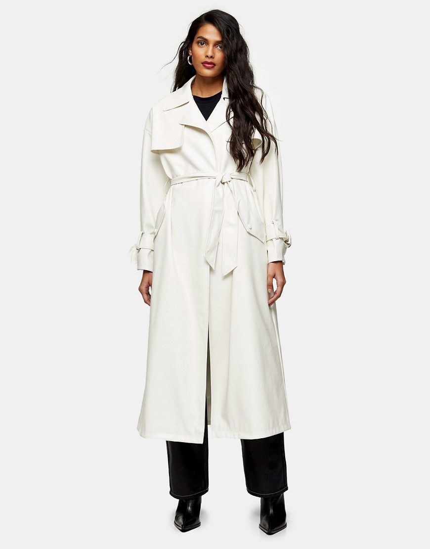 Topshop belted maxi faux leather trench coat in ivory-White