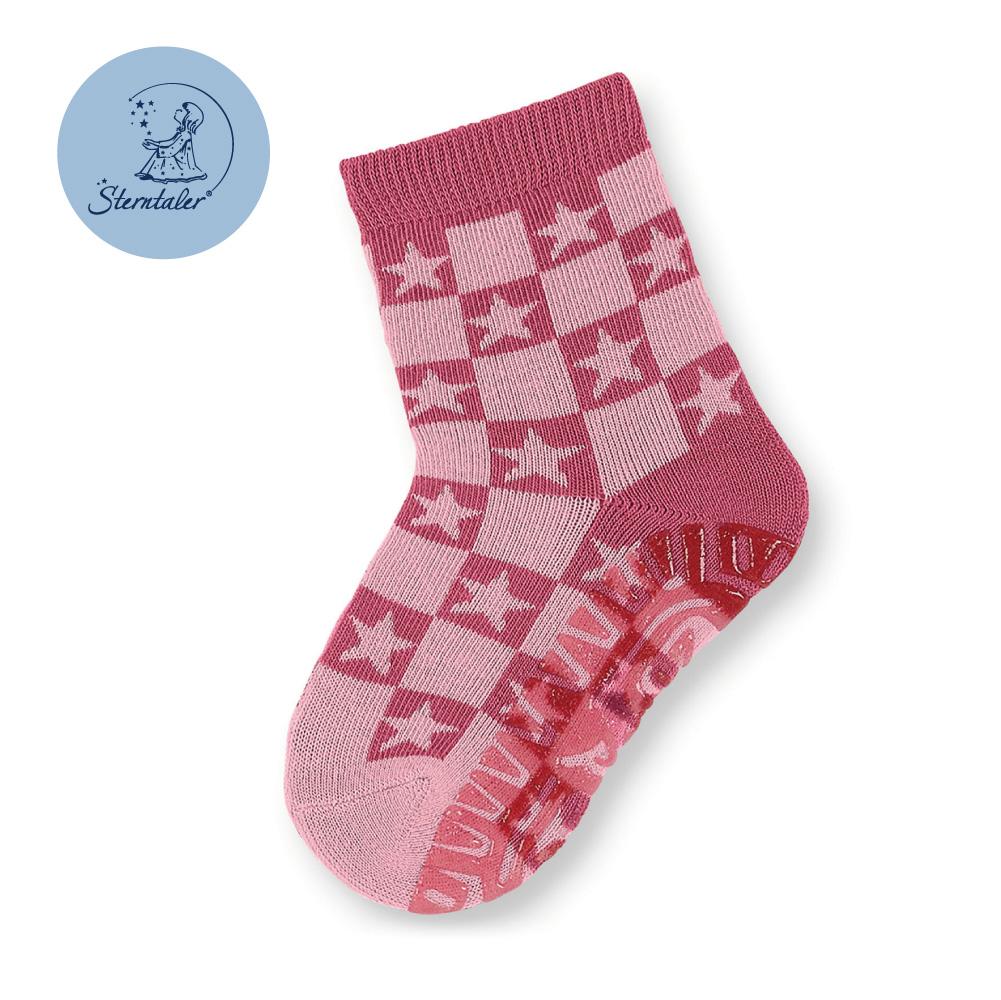 STERNTALER 雙色星星防滑厚底學步襪-粉