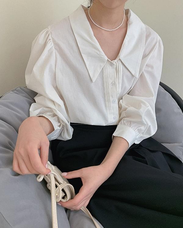 韓國空運 - #Any place bead cotton pintuck blouse 襯衫