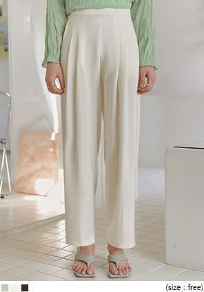 韓國空運 - 後鬆緊高腰壓褶西裝寬褲 長褲