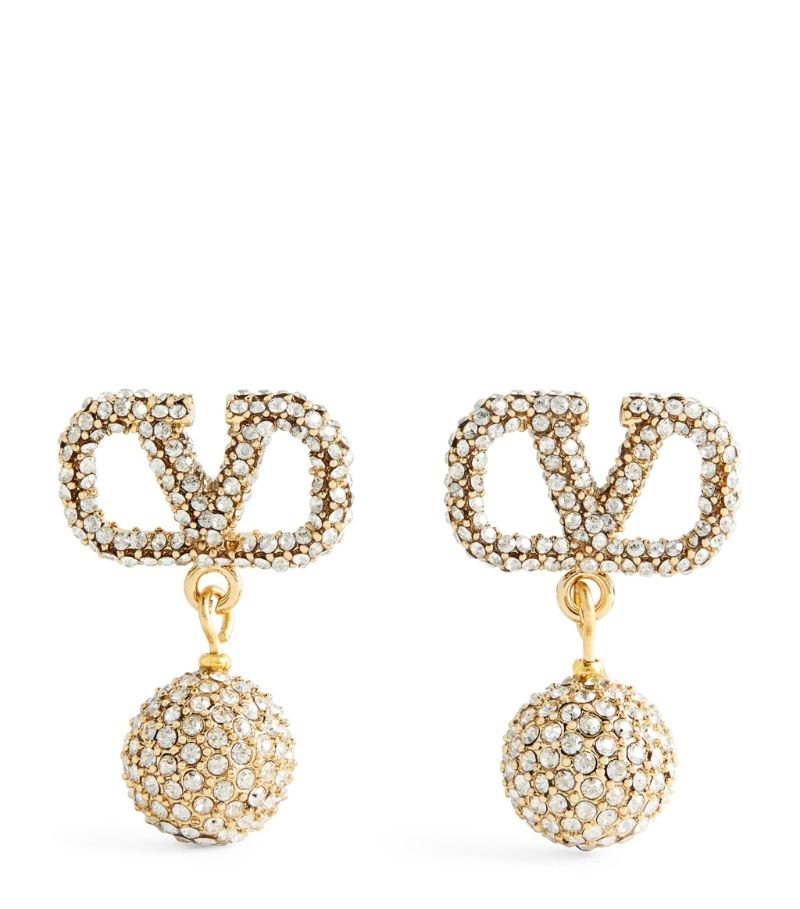 Valentino Valentino Garavani Embellished Vlogo Pendant Earrings