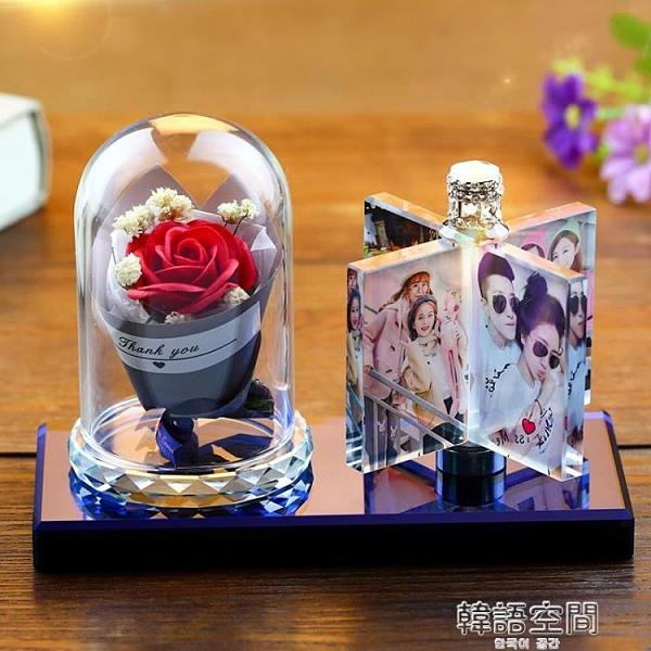相框訂製來圖定做 桌面水晶燈擺台照片訂製婚紗照個性可愛創意diy