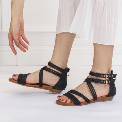 LN  現+預 羅馬風綁帶坡跟涼拖鞋(涼拖鞋/休閒鞋)