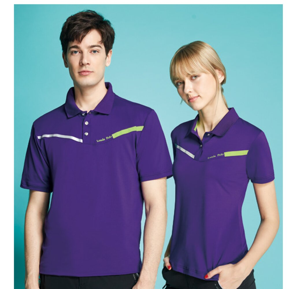 【Londa POLO】素面彈性夜光設計男版短袖POLO衫(P208206紫色)