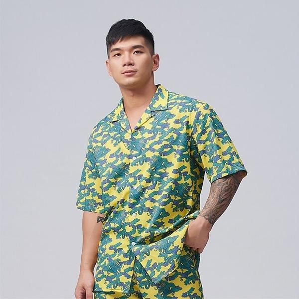 【TAIWANIZE】龍紋迷彩寬版襯衫(黃)