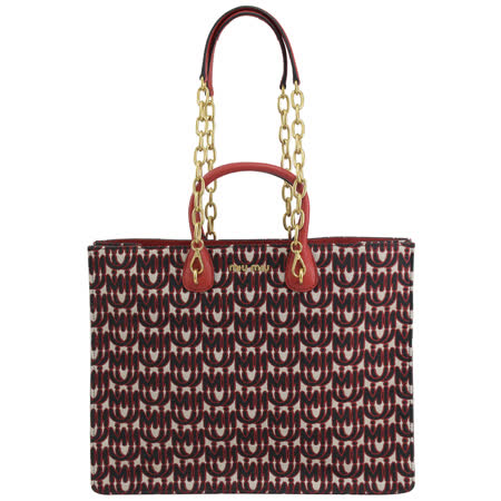 MIU MIU 5BG154 刺繡LOGO帆布拼接兩用包.紅邊
