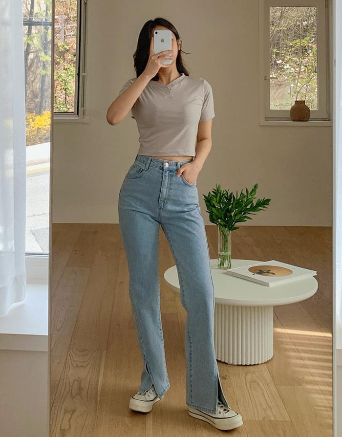 韓國空運 - Icebreaker Faded Slit Jeans 牛仔褲