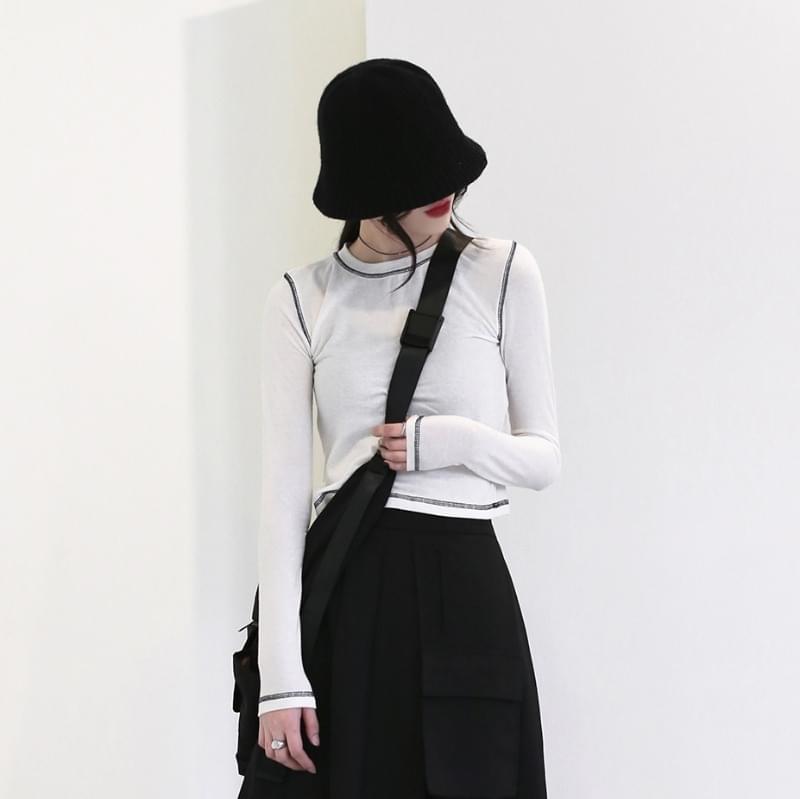 韓國空運 - Out stitched wool T-shirt 長袖上衣