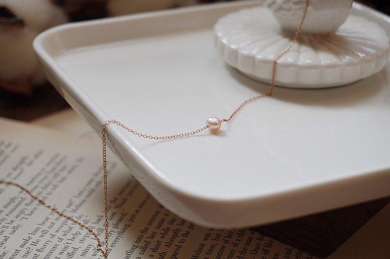 ::玫瑰金::【泡泡日記IV-維納斯的海貝】珍珠 14kgf 項鍊