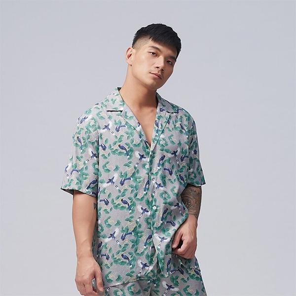 【TAIWANIZE】松間藍鵲寬版襯衫(灰)