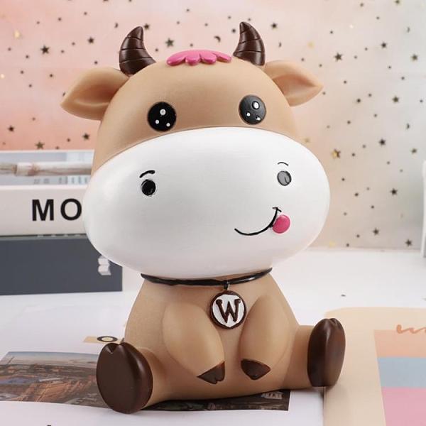 存錢罐 可愛卡通牛存錢罐防摔兒童可存可取創意牛年儲蓄罐男女孩禮物擺件