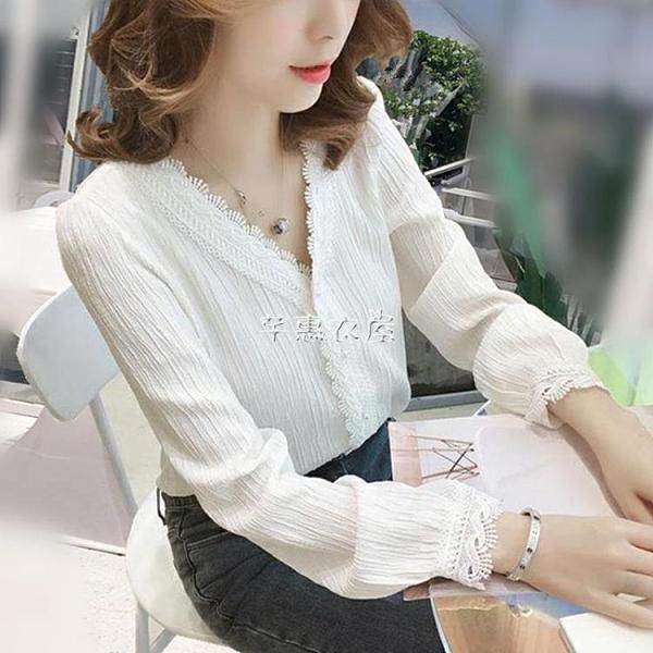 雪紡襯衫女春新款韓版V領上衣小眾設計感白色襯衣超仙洋氣小衫 快速出貨