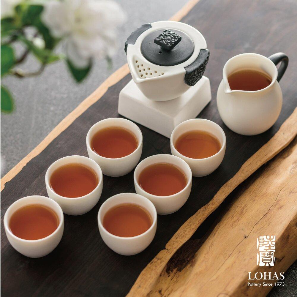 【陸寶LOHAS】東籬雅菊 淨墨牡丹茶組 精雕花卉 黑與白永遠的時尚 金點設計獎