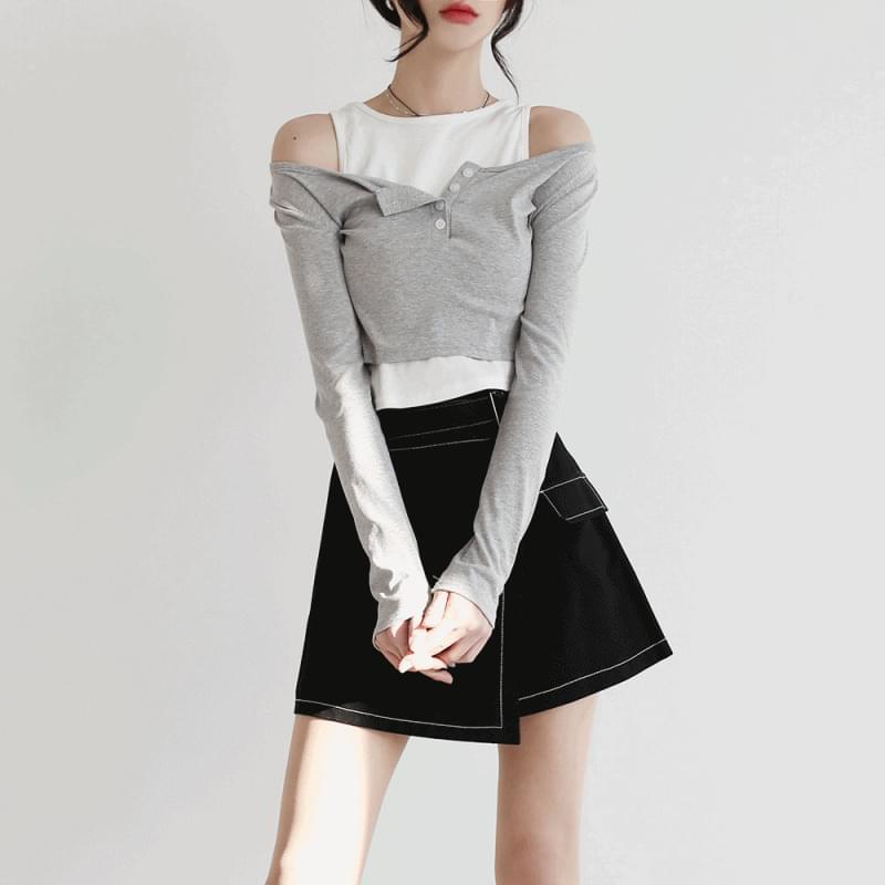 韓國空運 - Forty layered cropped T-shirt 長袖上衣