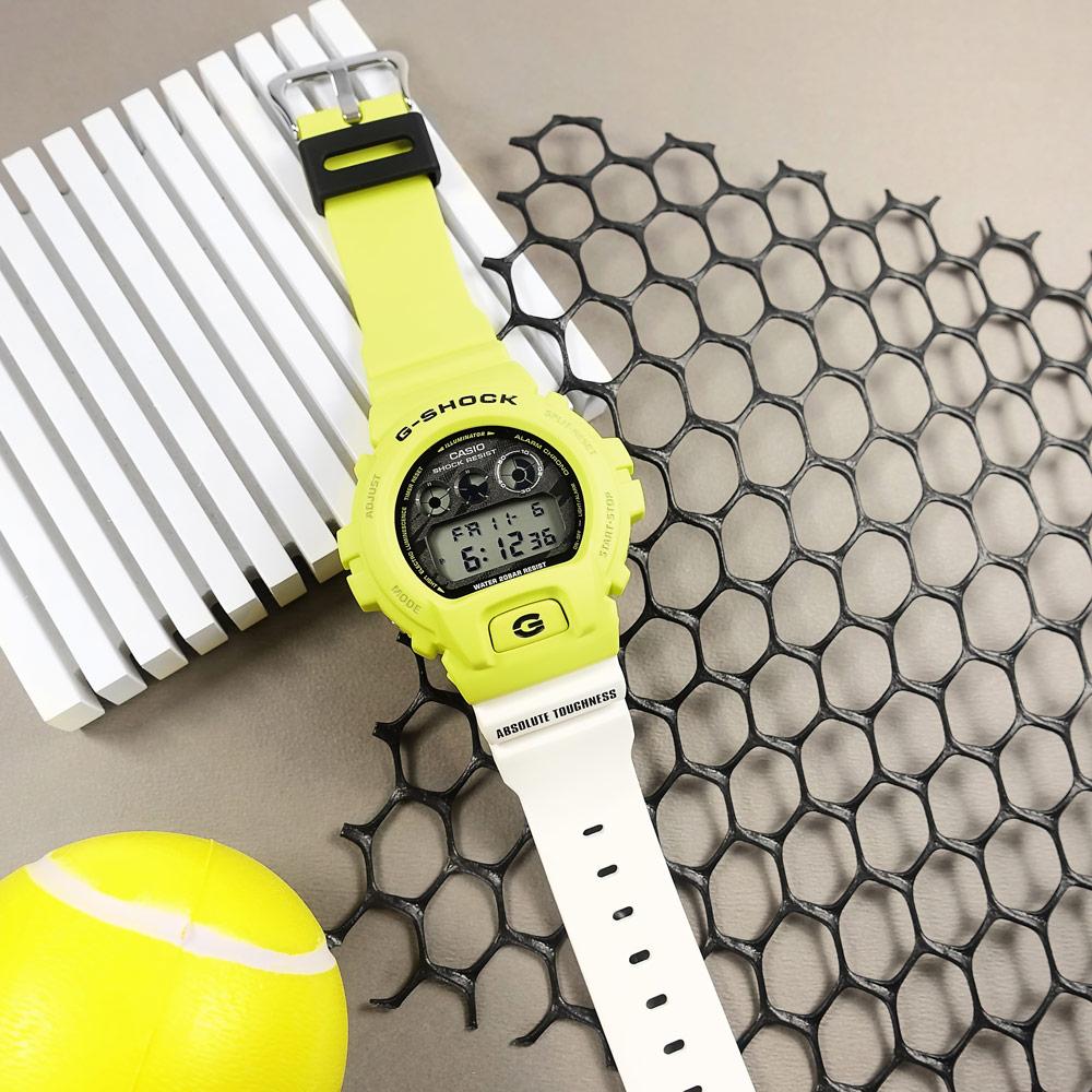 G-SHOCK CASIO / DW-6900TGA-9 / 門市販售中 訂購詳情歡迎私訊LINE / 卡西歐 電子液晶 運動計時 防水200米 橡膠手錶 黃x白黑撞色 48mm