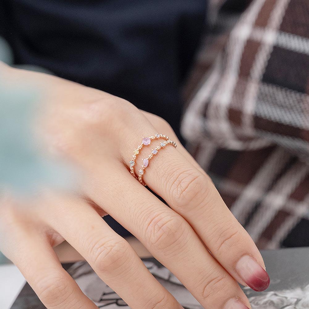 繽紛多彩鑽雙層開口戒指(2色)-C20155