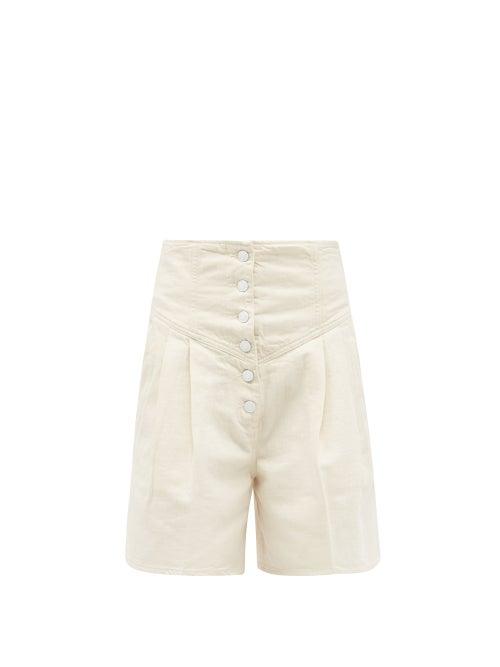 Made In Tomboy - Still Bull High-rise Denim Shorts - Womens - Ivory
