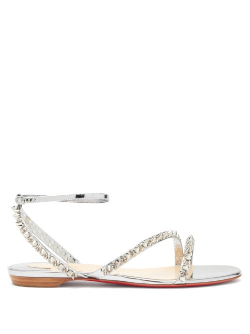Christian Louboutin - Mafaldina Spikes Flat Leather Sandals - Womens - Silver Multi
