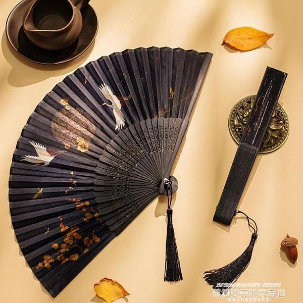 扇子 扇子折扇中國風古風女日式小復古折疊古典古裝流蘇布夏季跳舞舞蹈 新品