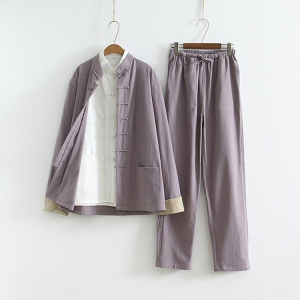 新款中國風棉麻挽袖兩件套禪修茶藝居士服中式佛系亞麻唐裝漢服裝 陽光好物