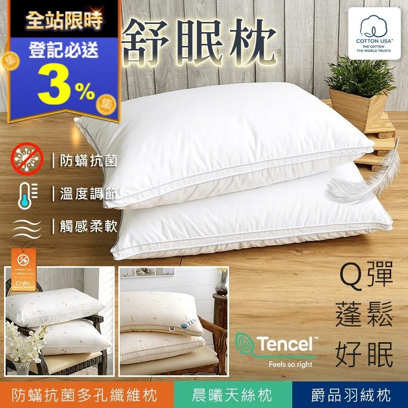 飯店防蹣抗菌天絲羽絨枕(2 入)