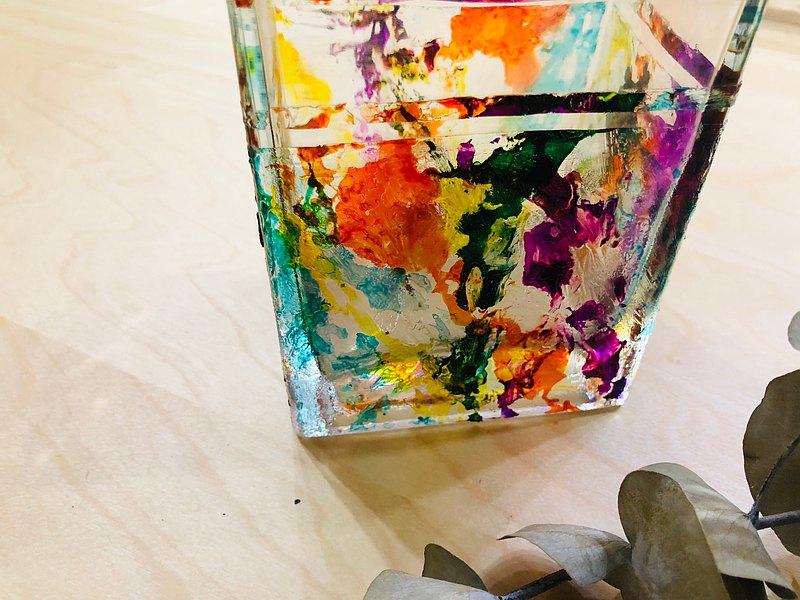 繽紛綻放花瓶 方形 玻璃 琉璃  新居禮  桃園 限量現貨