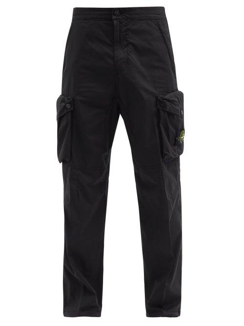 Stone Island - Logo-patch Cotton-blend Cargo Trousers - Mens - Black