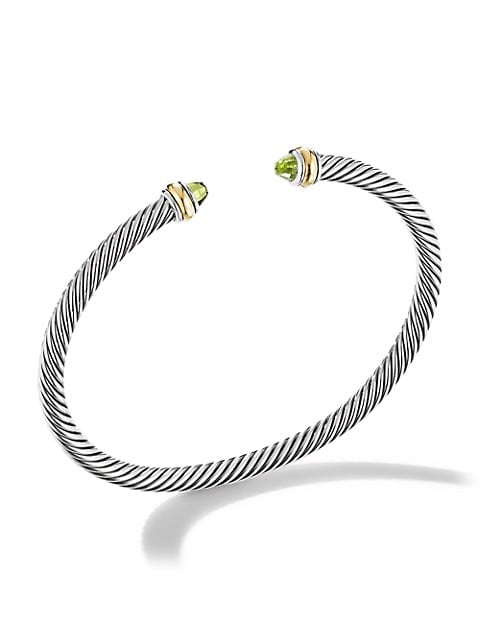 Cable Classic Bracelet With Peridot & 18K Yellow Gold