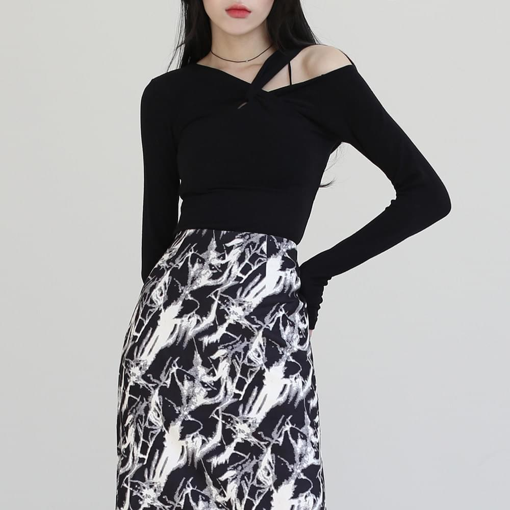韓國空運 - Twisted shoulder slit T-shirt 長袖上衣