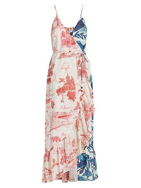 Dual-Print Maxi Wrap Dress